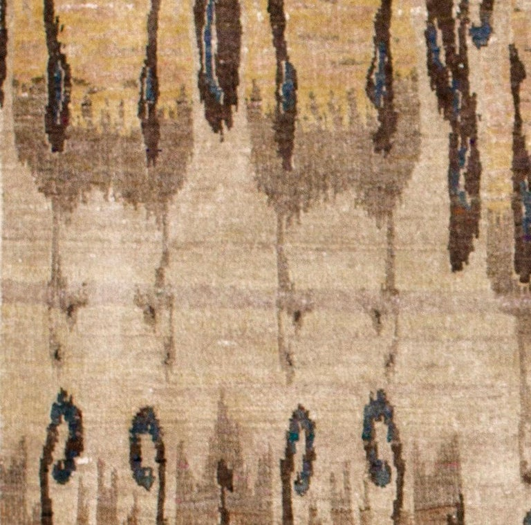 Indian Beige Camel Tan Transitional Hand Knotted Silk Rug  For Sale