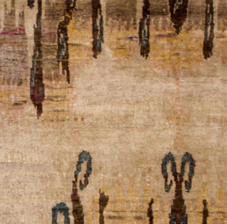 Hand-Knotted Beige Camel Tan Transitional Hand Knotted Silk Rug  For Sale