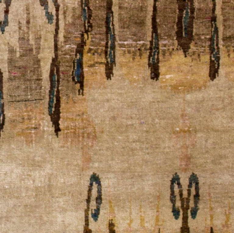 Beige Camel Tan Transitional Hand Knotted Silk Rug  In New Condition For Sale In GREAT NECK, NY