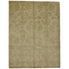 Transitional Indian Aubusson Style Rug with Warm, Neutral Colors