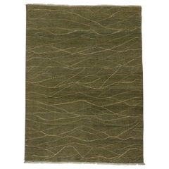 Transitional Indian Rug with Mid-Century Modern Style and Earthy Colors