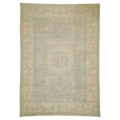 Transitional Khotan Style Area Rug with Pomegranate Design