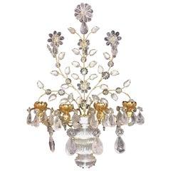 Transitional Large Pair Gilt Rock Crystal Baguès Flowers Candelabra Sconces