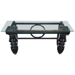 Transitional Modern Black Turned Writing Desk or Library Console Table