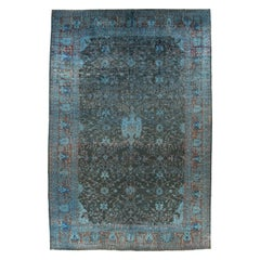 Transitional New Over-Dyed Blue Pakistan Large Rug