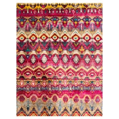 Transitional Pink Beige Gold Hand-Knotted Natural Silk Eco-Friendly Rug