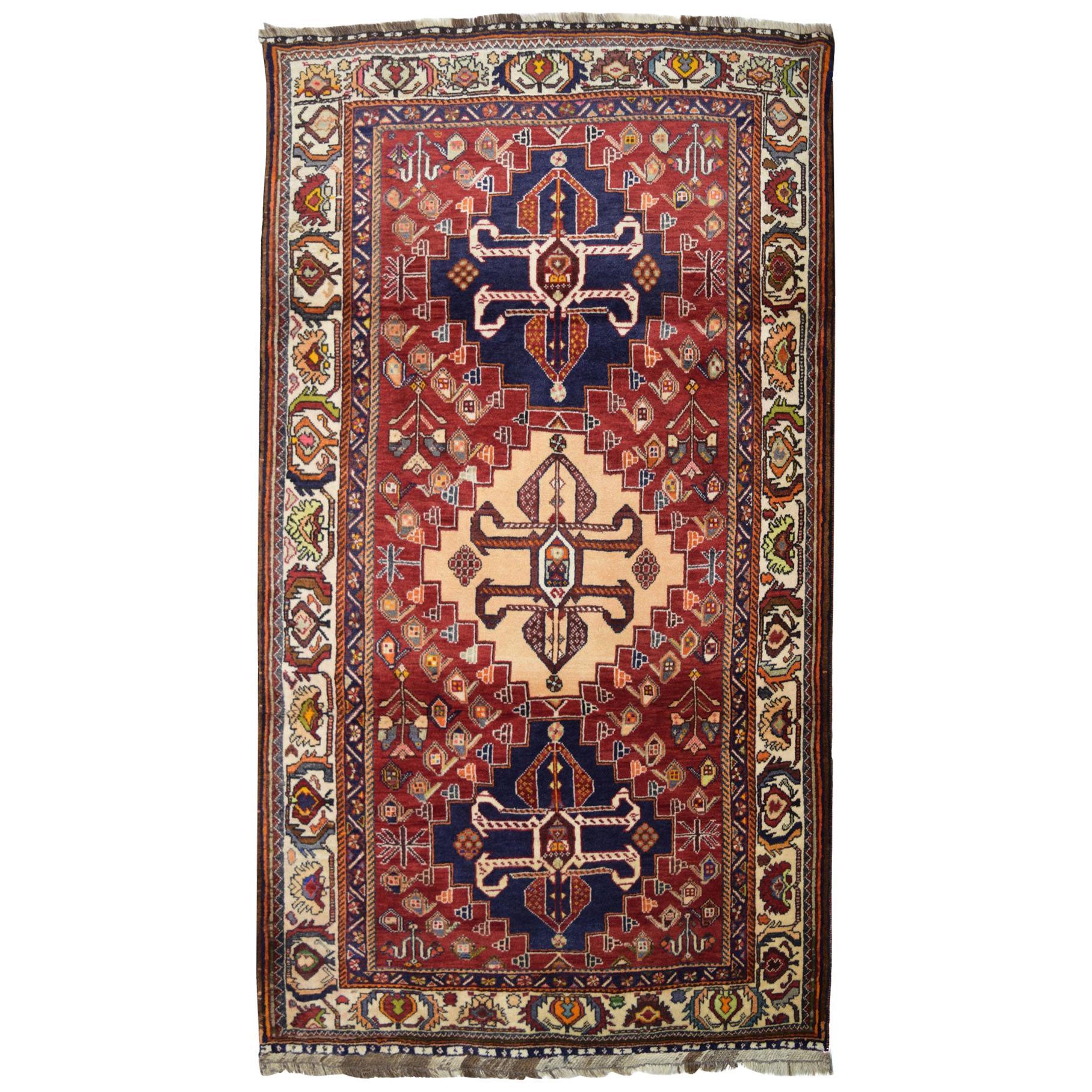 Transitional Red, Blue, and Cream Persian Kashkooli Wool Carpet