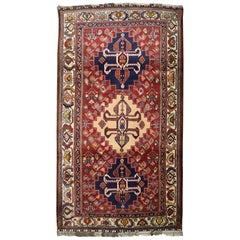 Transitional Red, Blue, and Cream Persian Kashkooli Wool Carpet