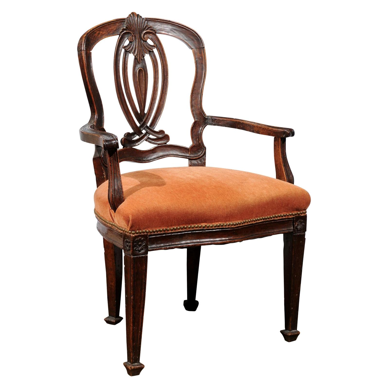Transitional Rococo / Neoclassical Armchair in Walnut, Italy, circa 1780