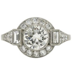 Transitional Round Brilliant Cut Diamond Platinum Engagement Ring Art Deco Style