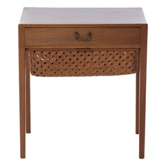 Transitional Scandinavian Modern Mahogany Sewing Table with Drawer and Basket