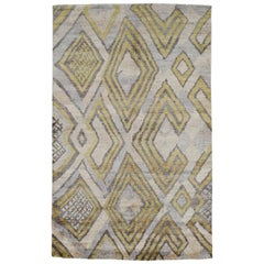 Silver White Lime Green Powder Blue African Tribal Silk Hand Knotted Rug