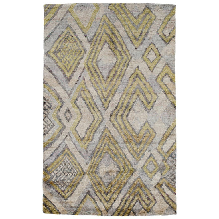 Silver White Lime Green Powder Blue African Tribal Silk Hand Knotted Rug For Sale