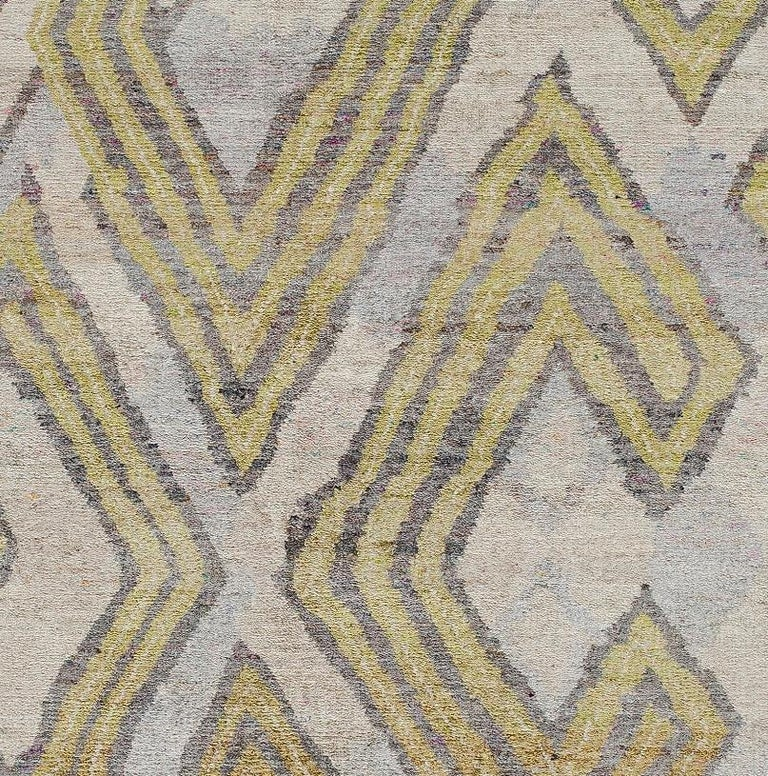 Organic Modern Transitional Silk Rug African Textile Silver Lime Green Powder Blue Hand Knotted For Sale