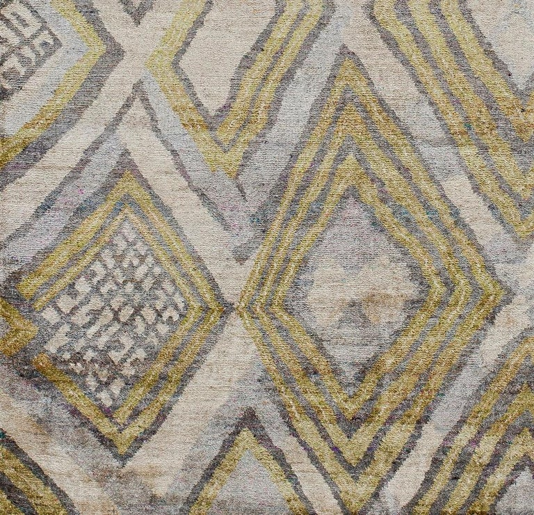 Indian Transitional Silk Rug African Textile Silver Lime Green Powder Blue Hand Knotted For Sale