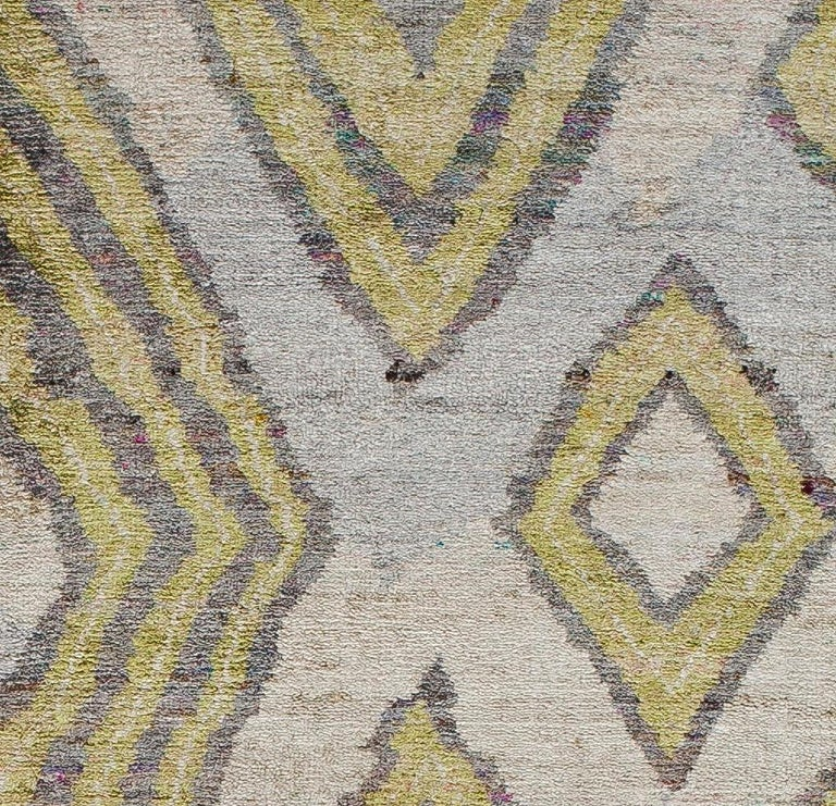 Hand-Knotted Silver White Lime Green Powder Blue African Tribal Silk Hand Knotted Rug For Sale