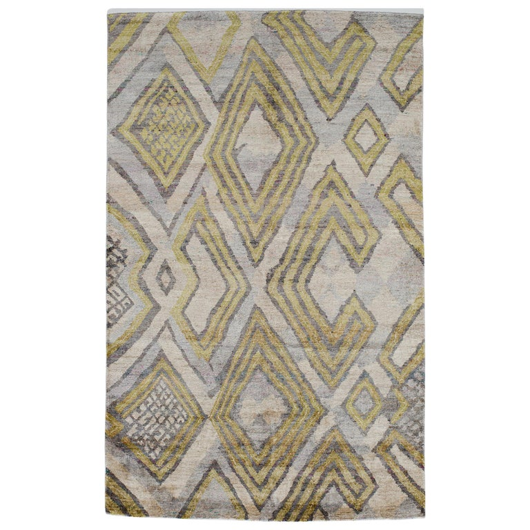Transitional Silk Rug African Textile Silver Lime Green Powder Blue Hand Knotted For Sale