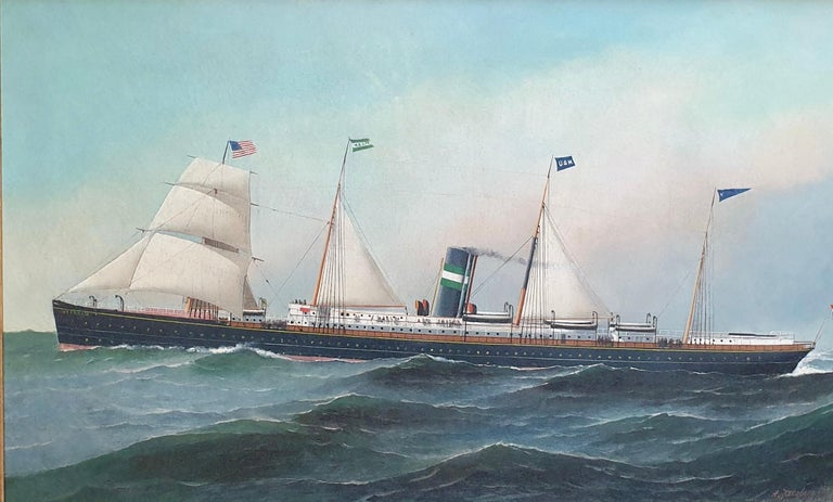 Oil on canvas signed lower right and dated 1891 with inscription 705 Palisade Ave West Hoboken. Antonio Jacobsen was a well-known painter of maritime subjects in the late 19th and early 20th century.  His paintings can be found in numerous