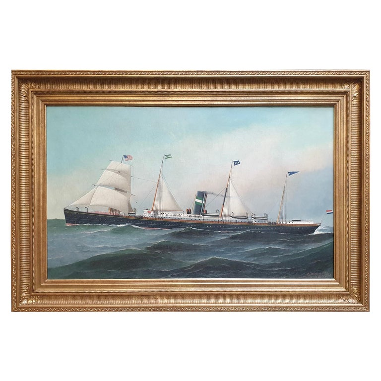 """""""Transitional Steamship Veendam"""" by Antonio Jacobsen For Sale"""