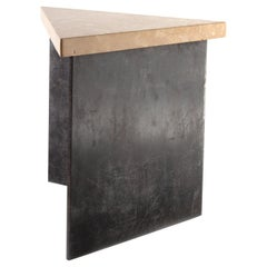 Transitional Style Right Angle Steel End Table with Jura Gray Stone Top