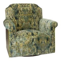 Transitional Swivel Chair in Velvet Damask and Walnut Veneer