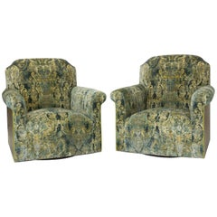 Transitional Swivel Chair in Velvet Damask