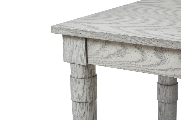 American Transitional Turned Leg Coffee Table in Gray Oak by Martin and Brockett Gray For Sale