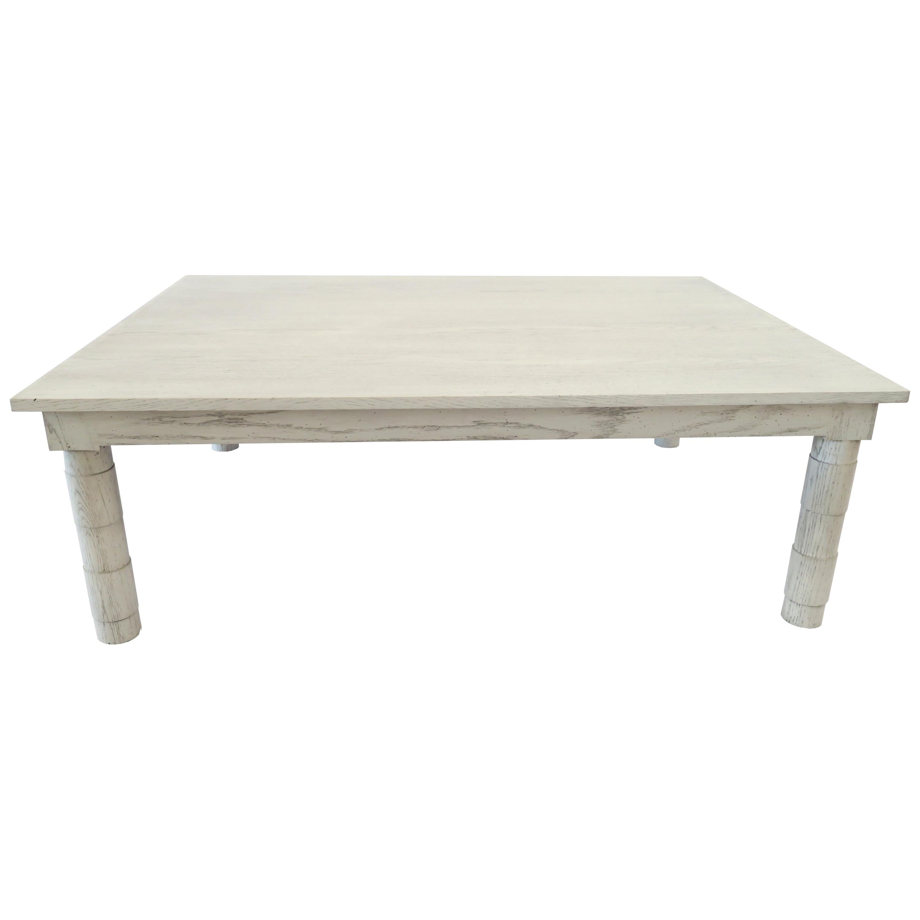 Transitional Turned Leg Coffee Table in Gray Oak by Martin and Brockett Gray