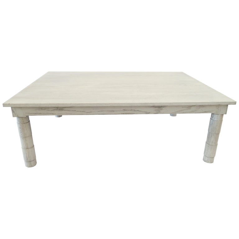 Transitional Turned Leg Coffee Table in Gray Oak by Martin and Brockett Gray For Sale