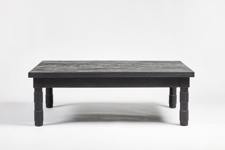 Transitional Turned Leg Coffee Table in Gray Oak by Martin and Brockett Gray For Sale 1