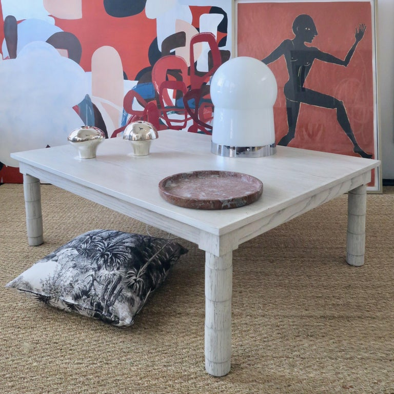 Transitional Turned Leg Coffee Table in Gray Oak by Martin and Brockett Gray For Sale 2