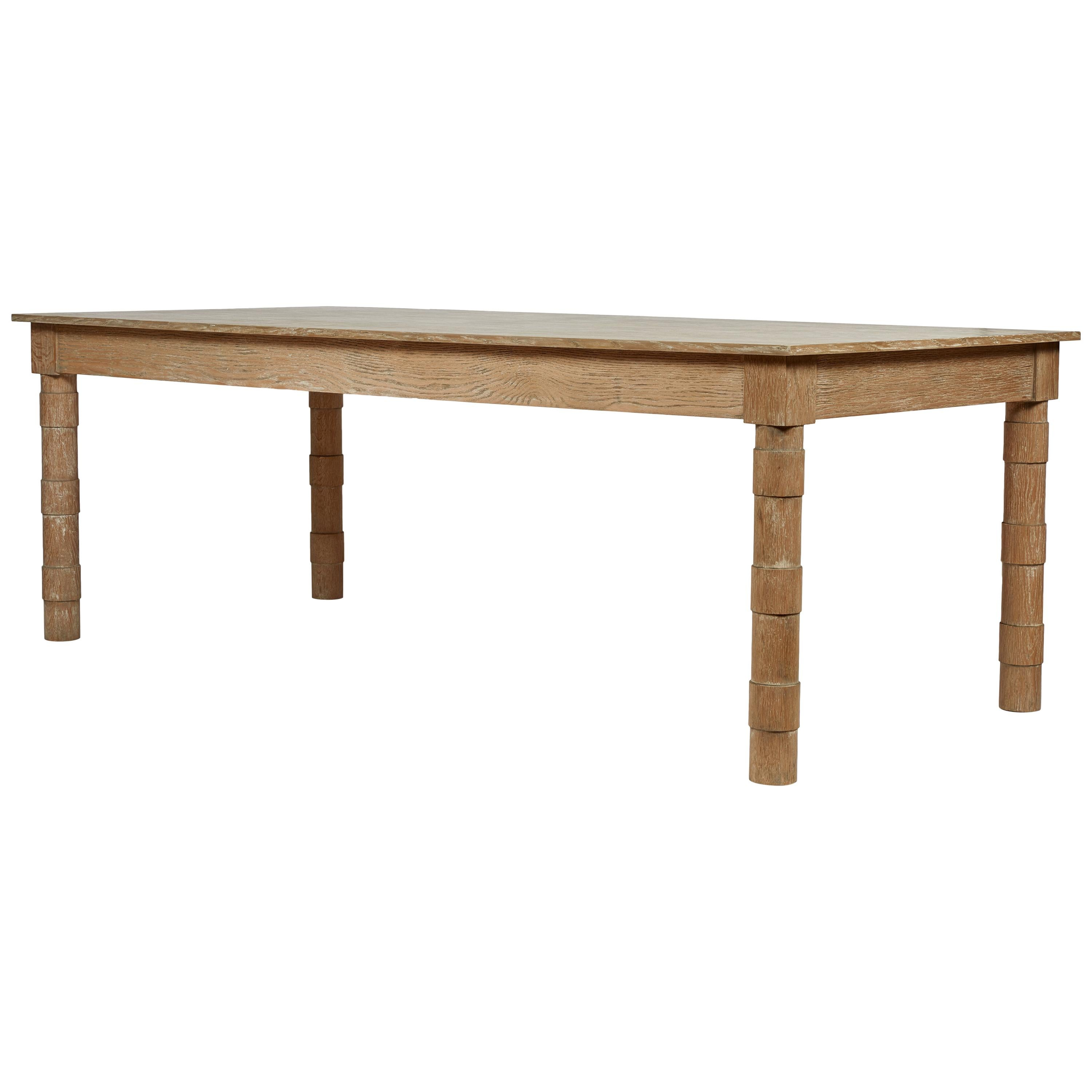 Transitional Turned Leg Dining Table in Cerused Oak by Martin and Brockett Brown