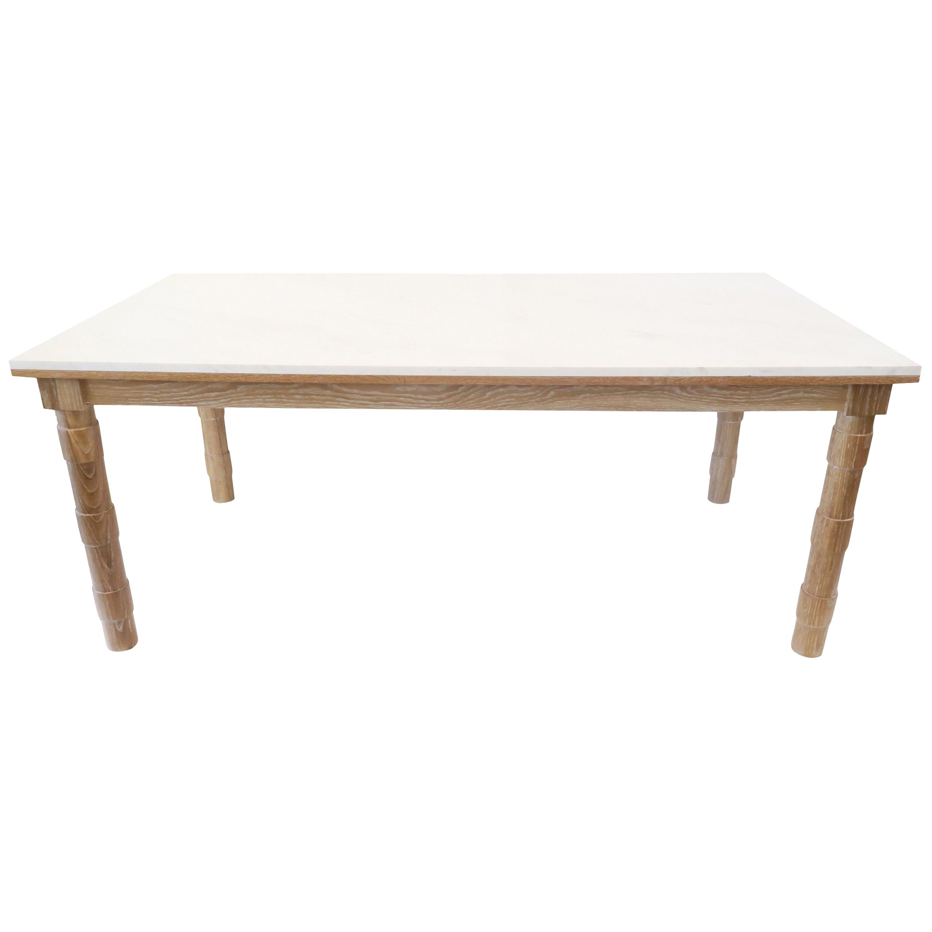 Transitional Turned Leg Dining Table Oak Marble Top by Martin and Brockett Brown