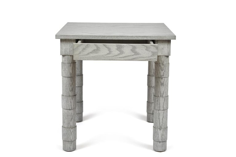Modern Transitional Turned Leg Side Table in Oak by Martin and Brockett, Italian Gray For Sale