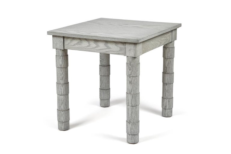 American Transitional Turned Leg Side Table in Oak by Martin and Brockett, Italian Gray For Sale