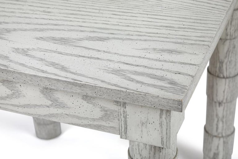 Contemporary Transitional Turned Leg Side Table in Oak by Martin and Brockett, Italian Gray For Sale