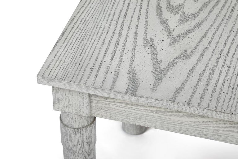 Transitional Turned Leg Side Table in Oak by Martin and Brockett, Italian Gray For Sale 1