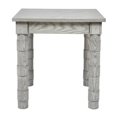 Transitional Turned Leg Side Table in Oak by Martin and Brockett, Italian Gray