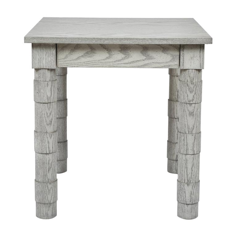 Transitional Turned Leg Side Table in Oak by Martin and Brockett, Italian Gray For Sale