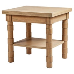 Transitional Turned Leg Side Table in Heavy Fumed on Oak by Martin and Brockett