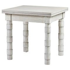 Transitional Turned Leg Side Table in Oak by Martin and Brockett, Italian Gray