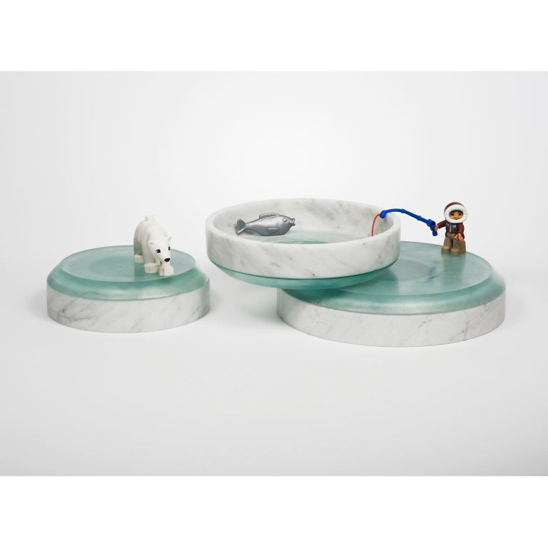 Italian Transito, Contemporary Centerpiece or Sculptures in Marble and Glass For Sale