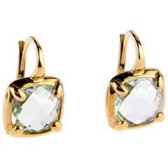 Translucent Aquamarine Blue 18 Karat Gold Cushion Ear Clips Deco Square Earrings