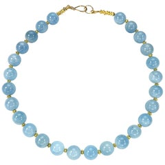 Translucent Aquamarine Choker Necklace with Gold Accents