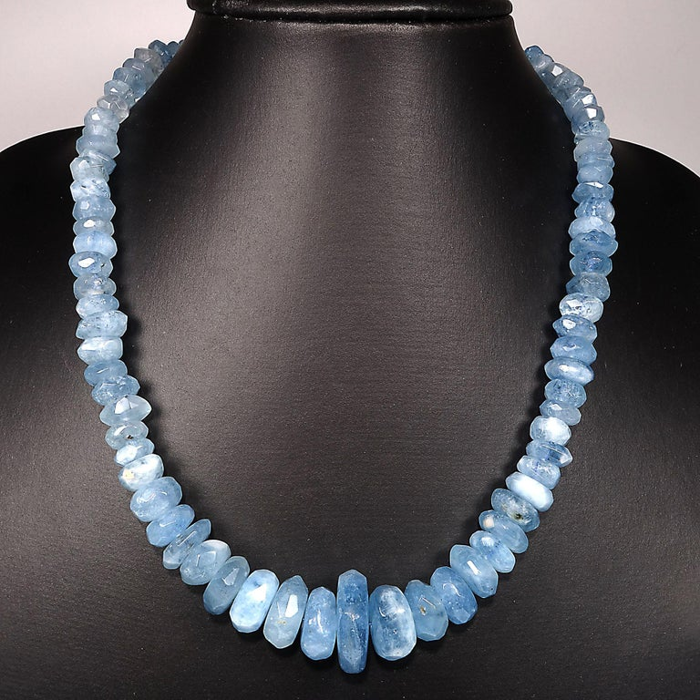 Translucent Blue Aquamarine Rondelle Necklace In New Condition For Sale In Tuxedo Park , NY