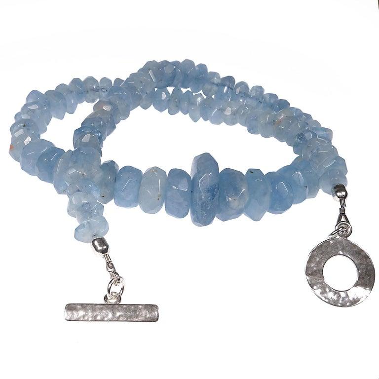 Translucent Blue Aquamarine Rondelle Necklace For Sale 1