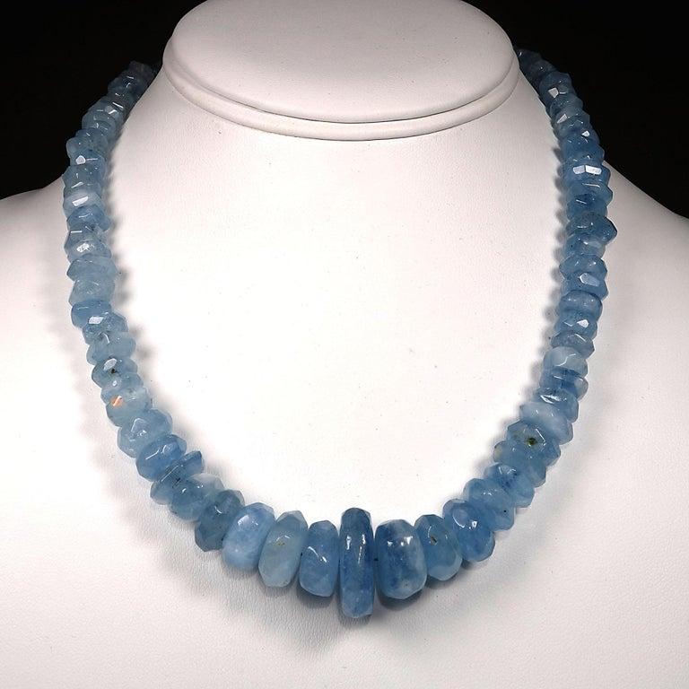 Translucent Blue Aquamarine Rondelle Necklace For Sale 2