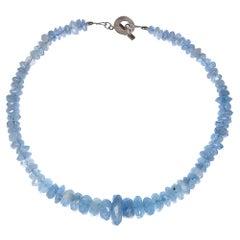 Translucent Blue Aquamarine Rondelle Necklace