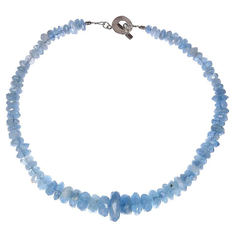 Translucent Blue Aquamarine Rondelle Necklace For Sale