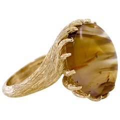 Translucent Brown Agate Cocktail Ring in Textured Yellow Gold